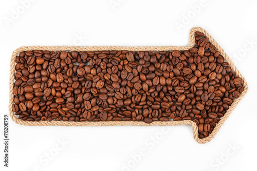 canvas print picture Arrow made of rope with coffee beans