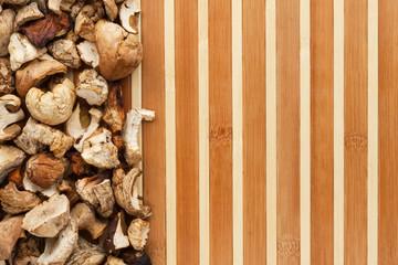 Dried mushroom on a bamboo mat
