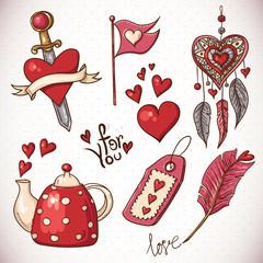 Doodle set elements of Valentines Day