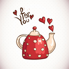 Doodle Greeting Card with red teapot and hearts