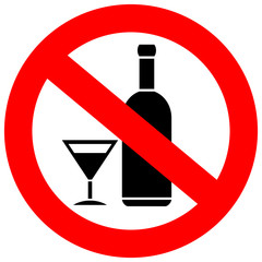 No alcohol drinks sign