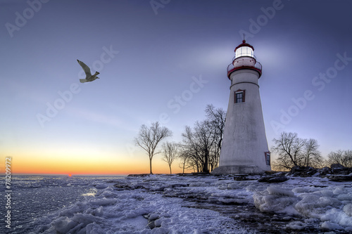 Fotobehang Vuurtoren / Mill Marblehead Lighthouse Sunrise