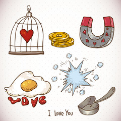 Doodle set elements of Valentines Day