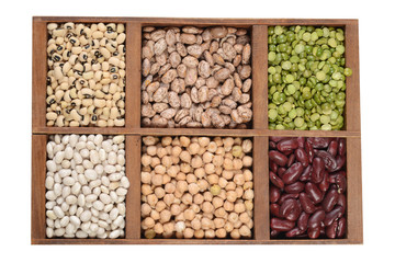 wood box of dried beans and peas
