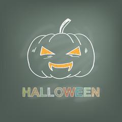 hand draw pumpkin on chalkboard