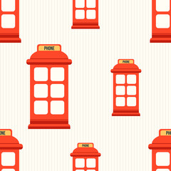 Seamless pattern with red phone booth