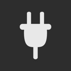 White plug as logo on dark grey background