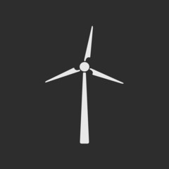White wind turbine on dark grey