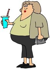 Chubby girl holding a soda cup