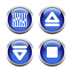 Set of buttons for web, arrow, equalizer, eject. Vector.