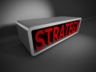 red STRATEGY 3d word on dark background. Business concept