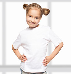 Child in white t-shirt