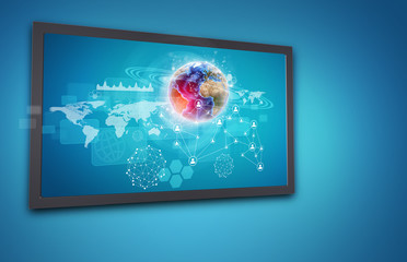 Touchscreen display with Globe, network of person icons and