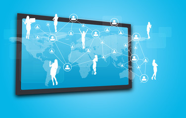 Touchscreen display with world map, network of person icons and