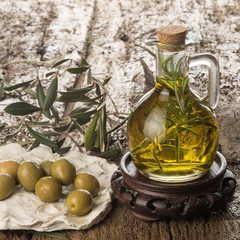 Virgin olive oil flavored with rosemary