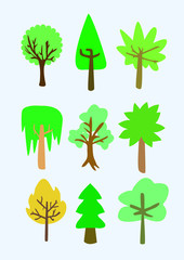 set sticker trees nature green forest