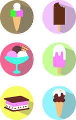 set stickers icons ice cream icecream desert colorful yummy