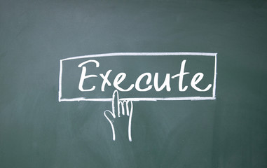 finger click execute symbol on blackboard