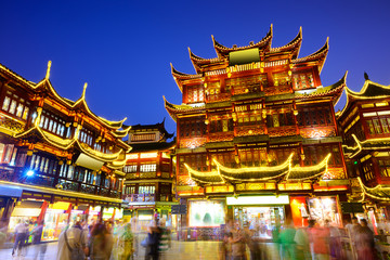 Yuyuan District of Shanghai, China at Night