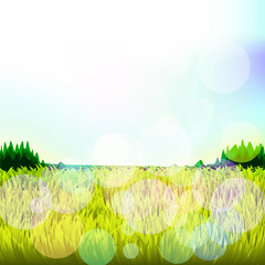 Abstract background with grass and bokeh. Raster. 1