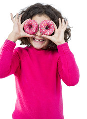 Little girl with donuts glasses
