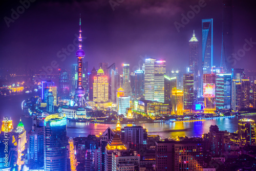Staande foto China Shanghai, China aerial cityscape at Night