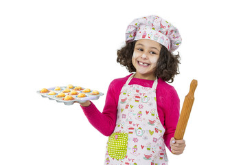 Little pastry girl with a tray of muffins