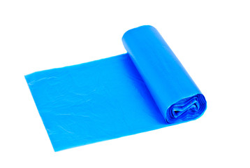 roll of blue garbage bags on a white background