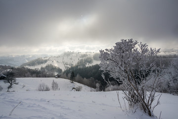 deep valley under the fog
