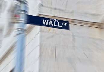 Wall Street road sign in New York
