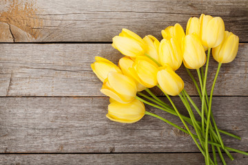 Fresh yellow tulips bouquet