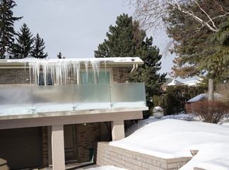 icicle covered house