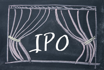IPO word and curtain background on blackboard