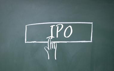 finger click IPO symbol on blackboard