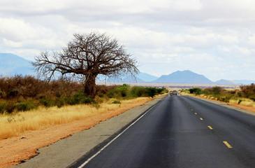 African road from Mombasa to Nairobi, Kenya