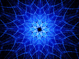 Blue glowing kaleidoscope