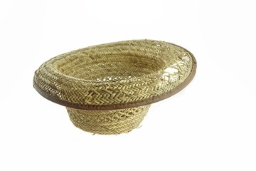 Worn And  Holey Isolated Straw Hat