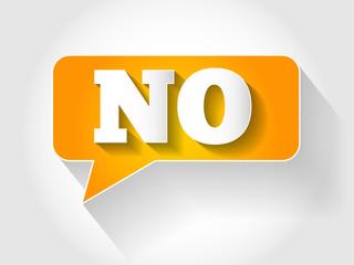 NO message bubble, business concept