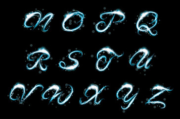 Transparent alphabet Glowing blue light effect glitter text