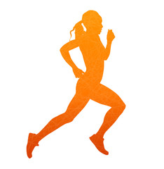 Running woman. Abstract isolated vector silhouette