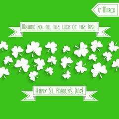 Saint Patrick's Day background with shamrock, greeting card