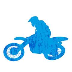 Grunge motocross racer silhouette