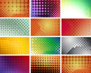 Halftone grunge style abstract backgrounds set