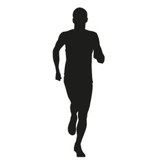Running young man. Isolated vector silhouette