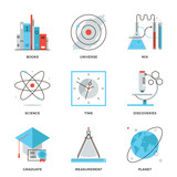 Fototapety Science and discovery line icons set