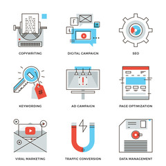 Digital campaign development line icons set