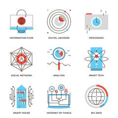 Big data and smart technology line icons set