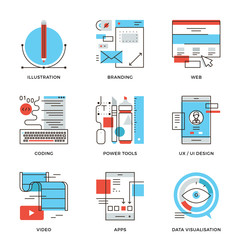 Graphic design and web development line icons set