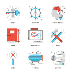 Imagination and thinking line icons set