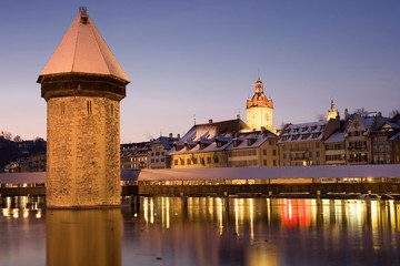 Chapel bridge at night in Lucerne, Switzerland